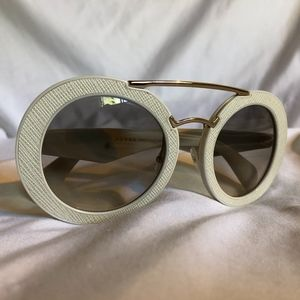 Prada Sunglasses (Womens Off White Round)